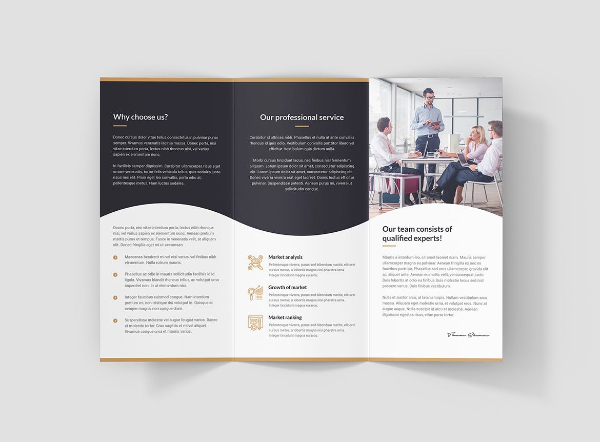 Business consulting tri-fold brochure design
