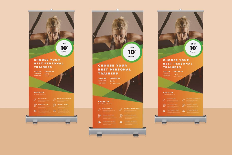Fitness Roll Up Banner Design