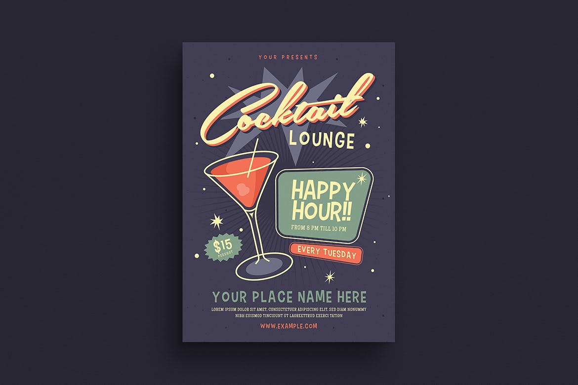 Retro cocktail flyer template