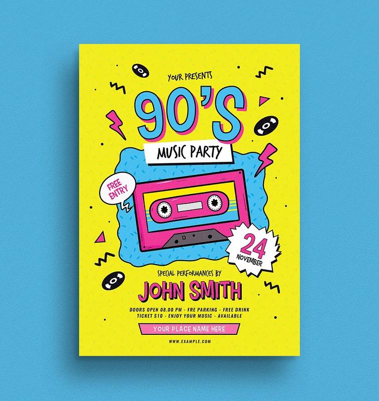 90s music flyer design