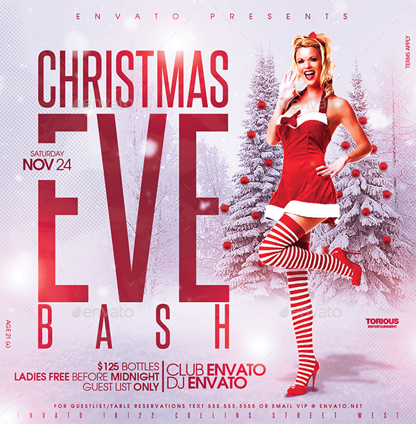 Christmas eve bash flyer design