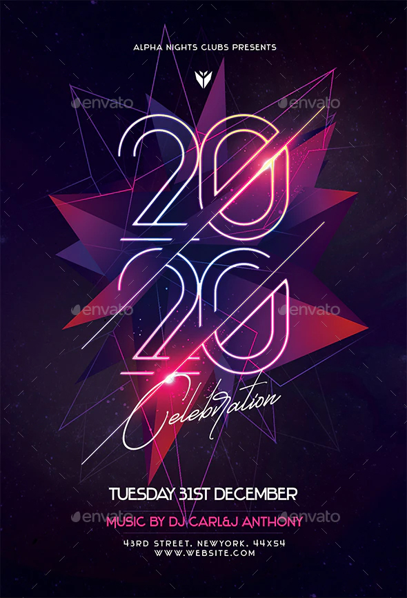 Modern New Year party flyer design