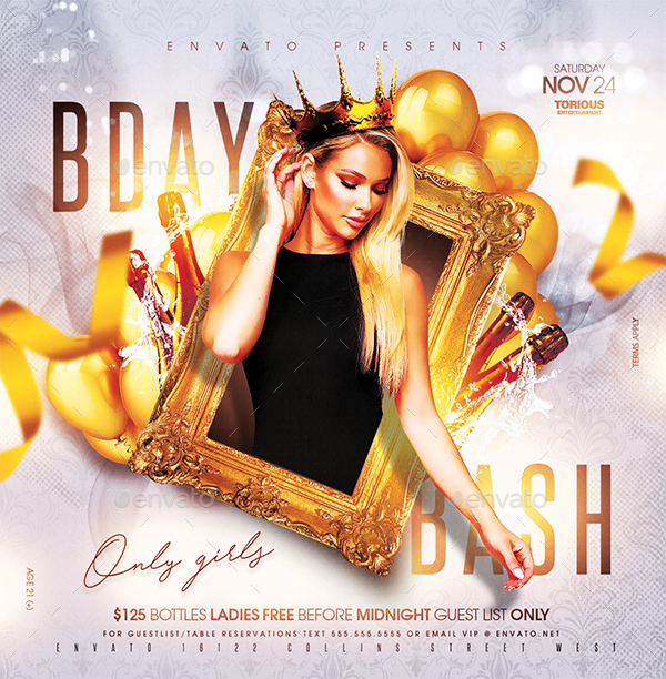 Birthday bash flyer design
