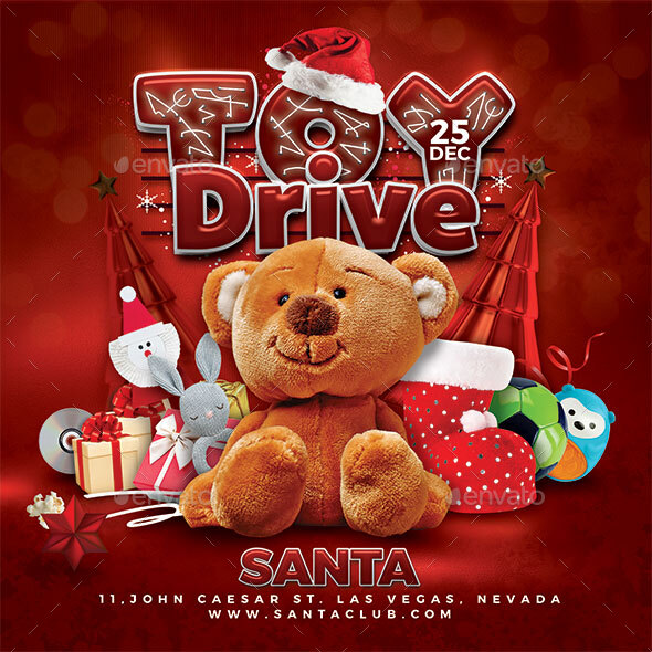 Christmas toy drive flyer design