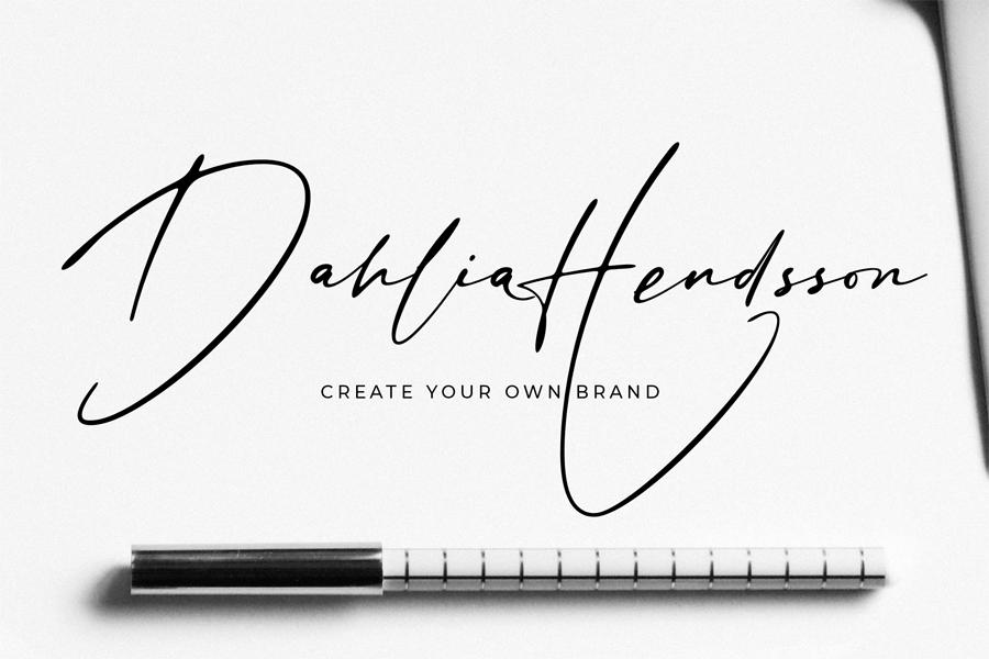 Stylish signature font