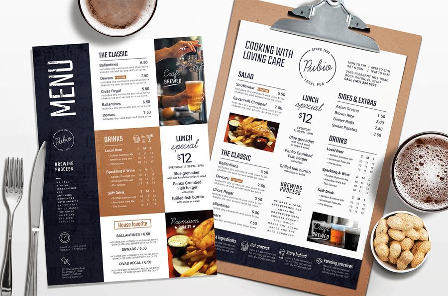 Food and drink menu design