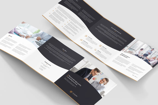 Business consulting tri-fold square brochure template