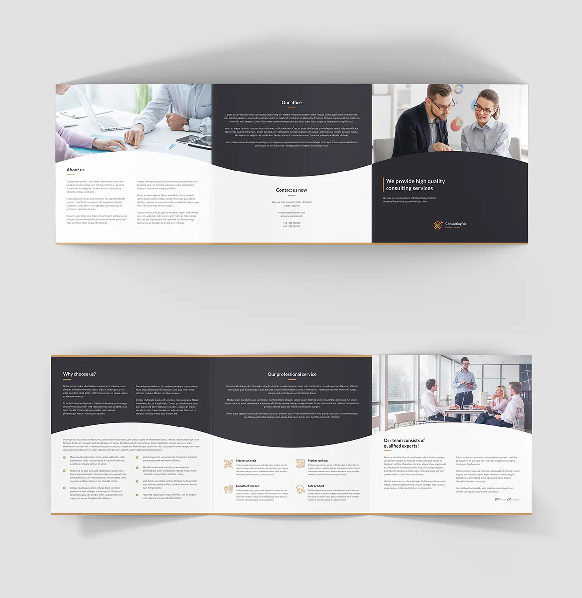 Management consulting square brochure template