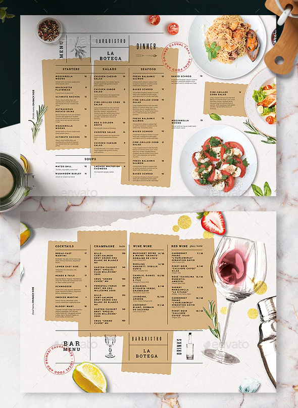 Restaurant food and drinks menu design