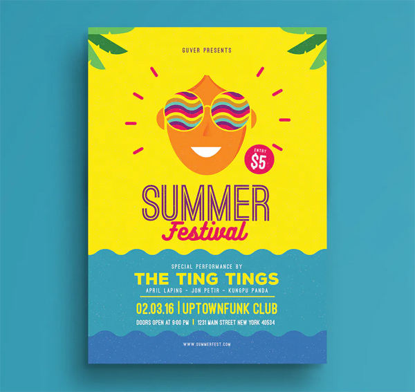 Summer festival flyer PSD