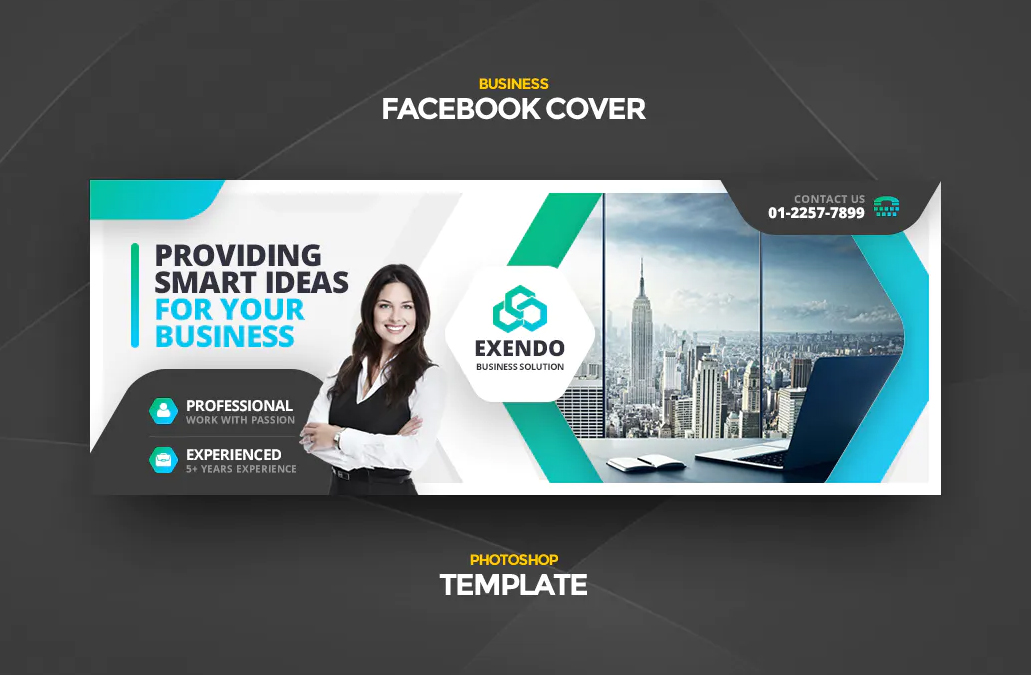 Clean business Facebook cover PSD