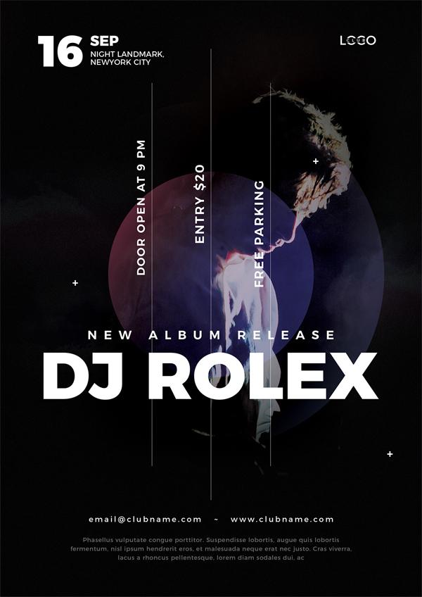 DJ concert flyer psd