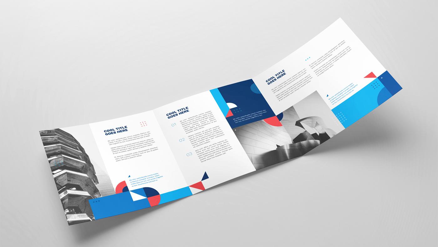 Geometric tri fold brochure design