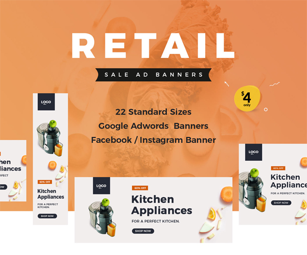 Retail sale ad banner templates