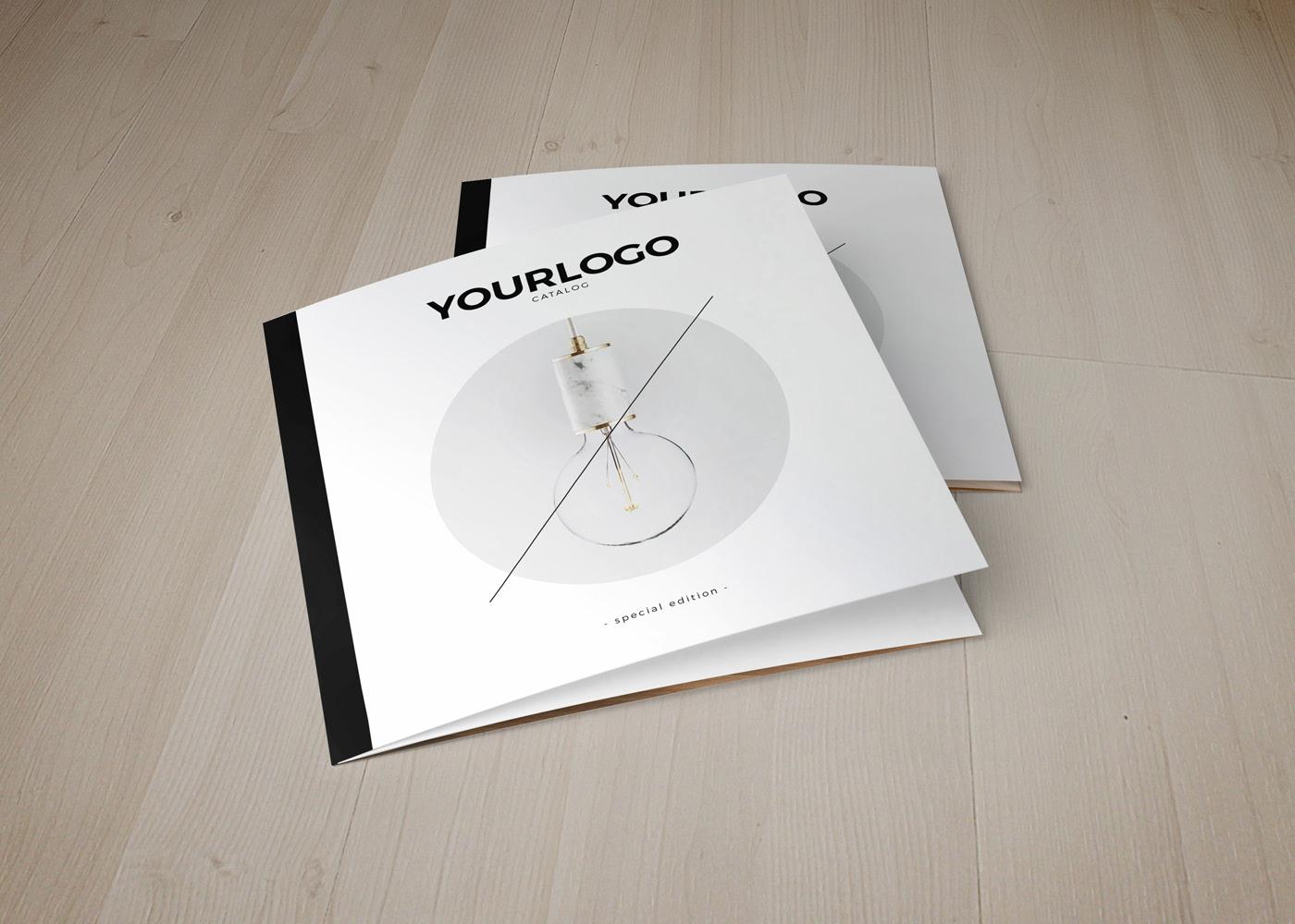 Square catalog trifold brochure design
