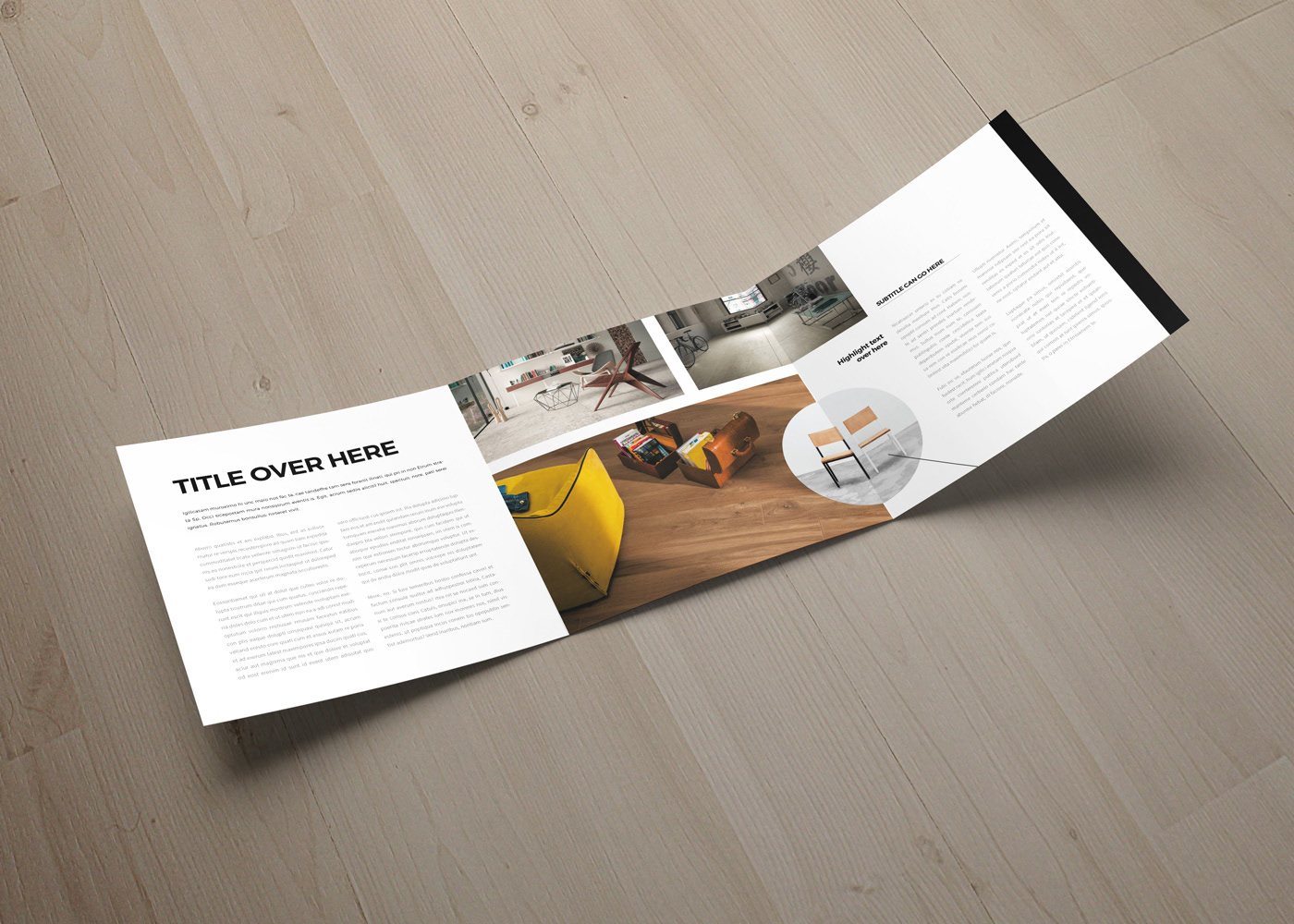 Square catalog tri-fold brochure