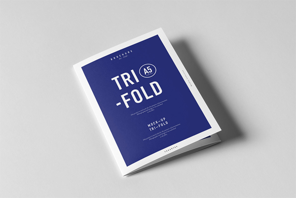 Tri-fold a5 brochure mock-up