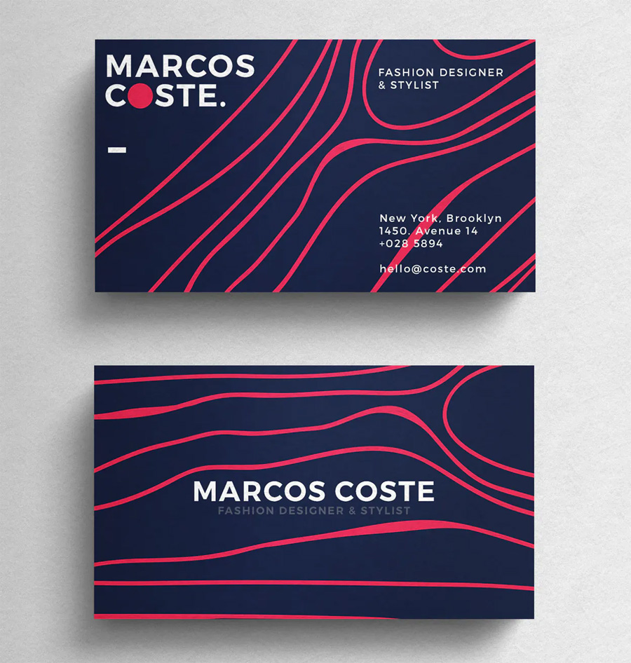 Colored minimal business card