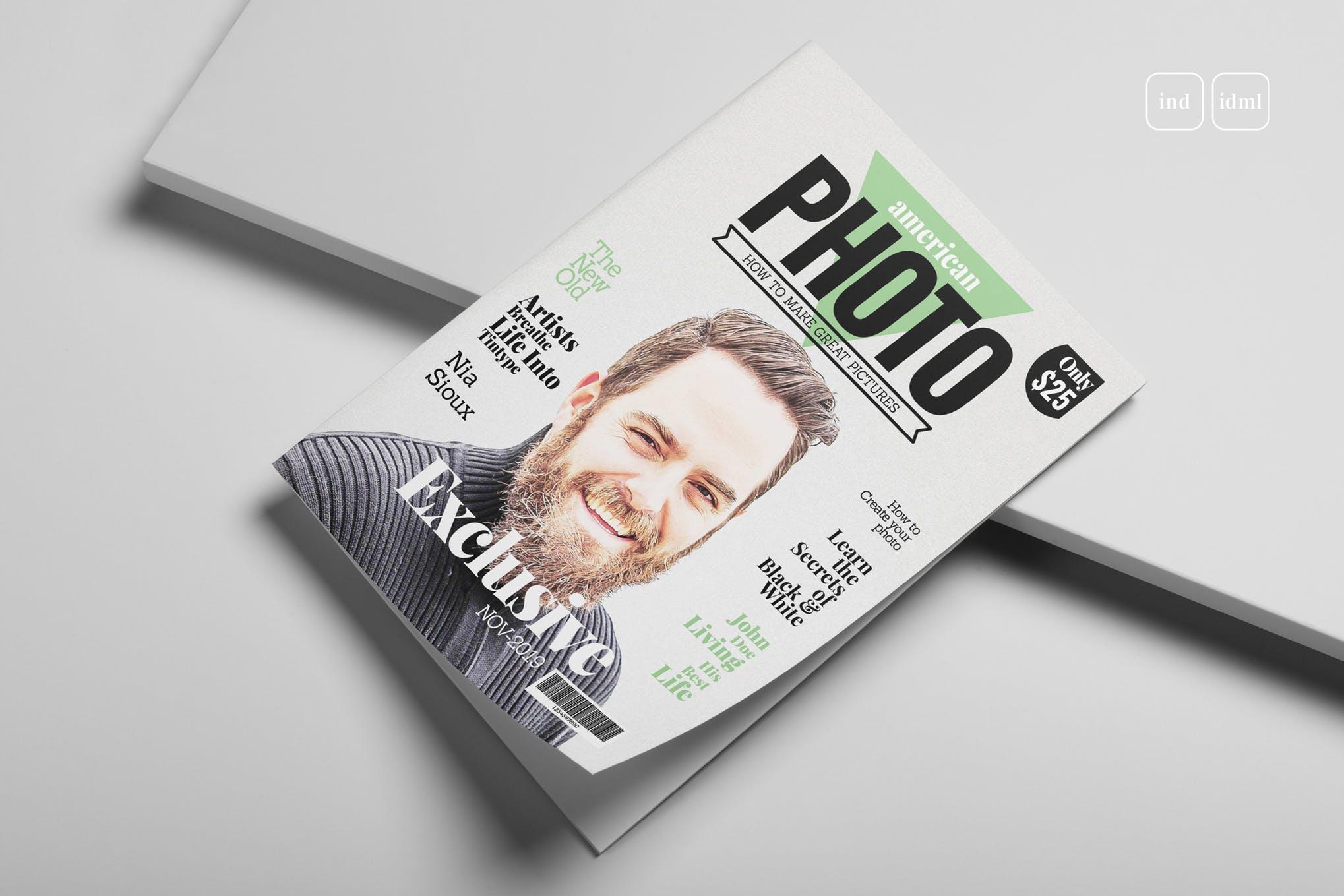 Photography magazine cover layout