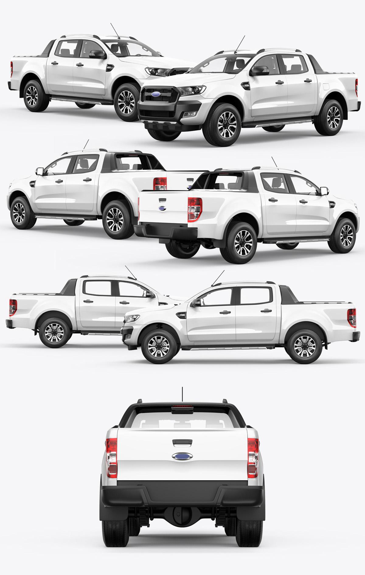 Ranger pickup truck mockup psd