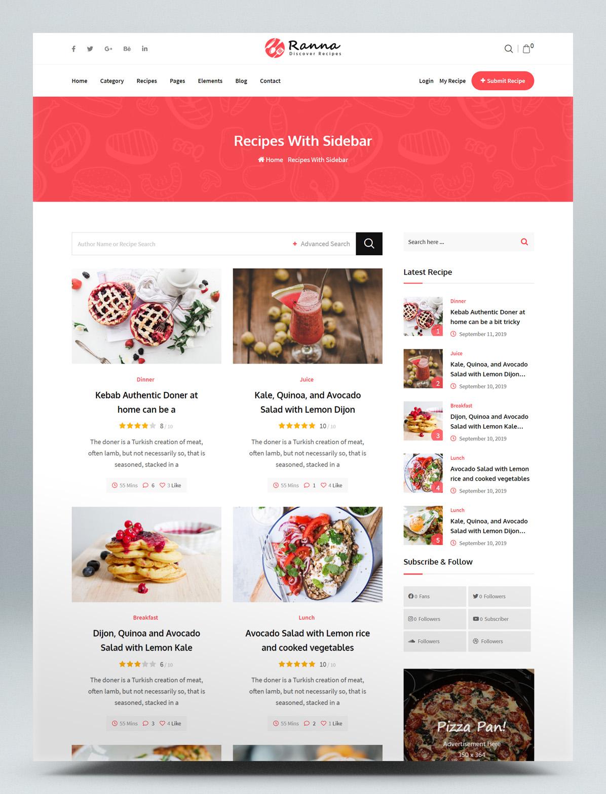 Recipe WordPress Theme - Recipes With Sidebar