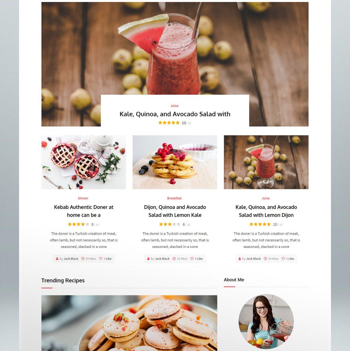 Recipe WordPress Theme - home page