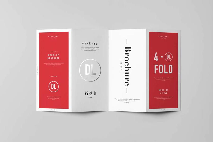 4 DL brochure mockup PSD