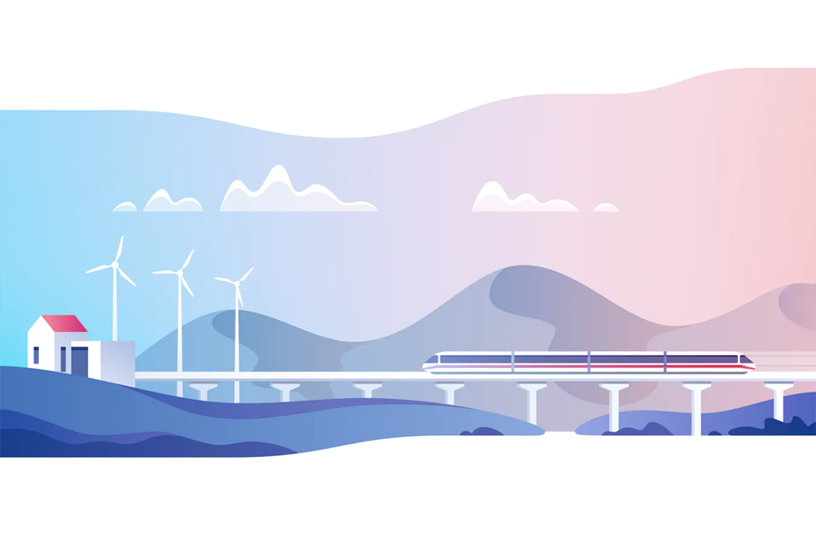 Abstract countryside landscape vector