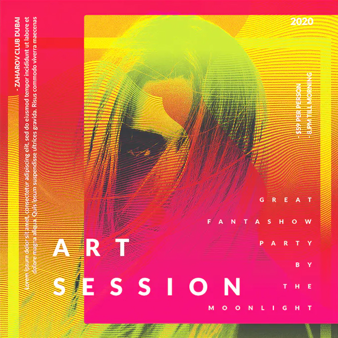 Art session square flyer