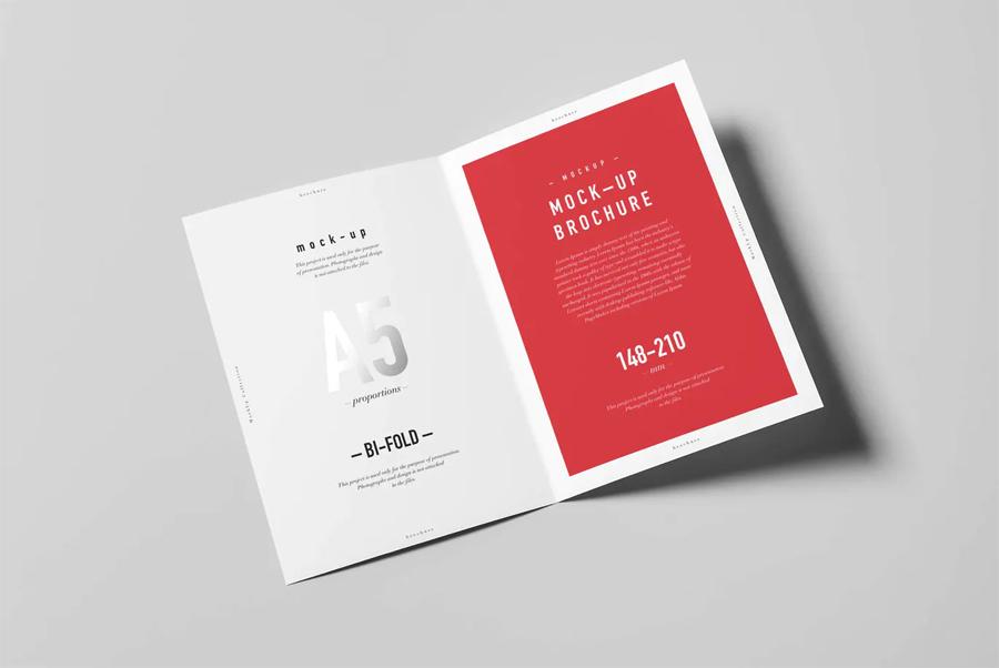 Bi-fold A5 brochure mockup