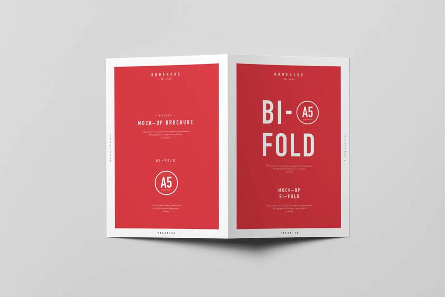 Bi-fold A5 brochure mockups