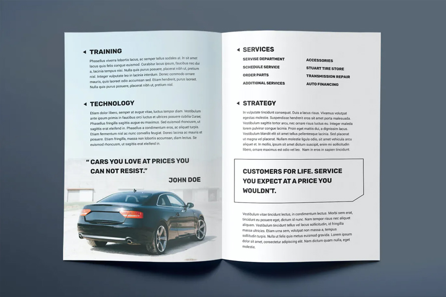 Car dealership bifold brochure