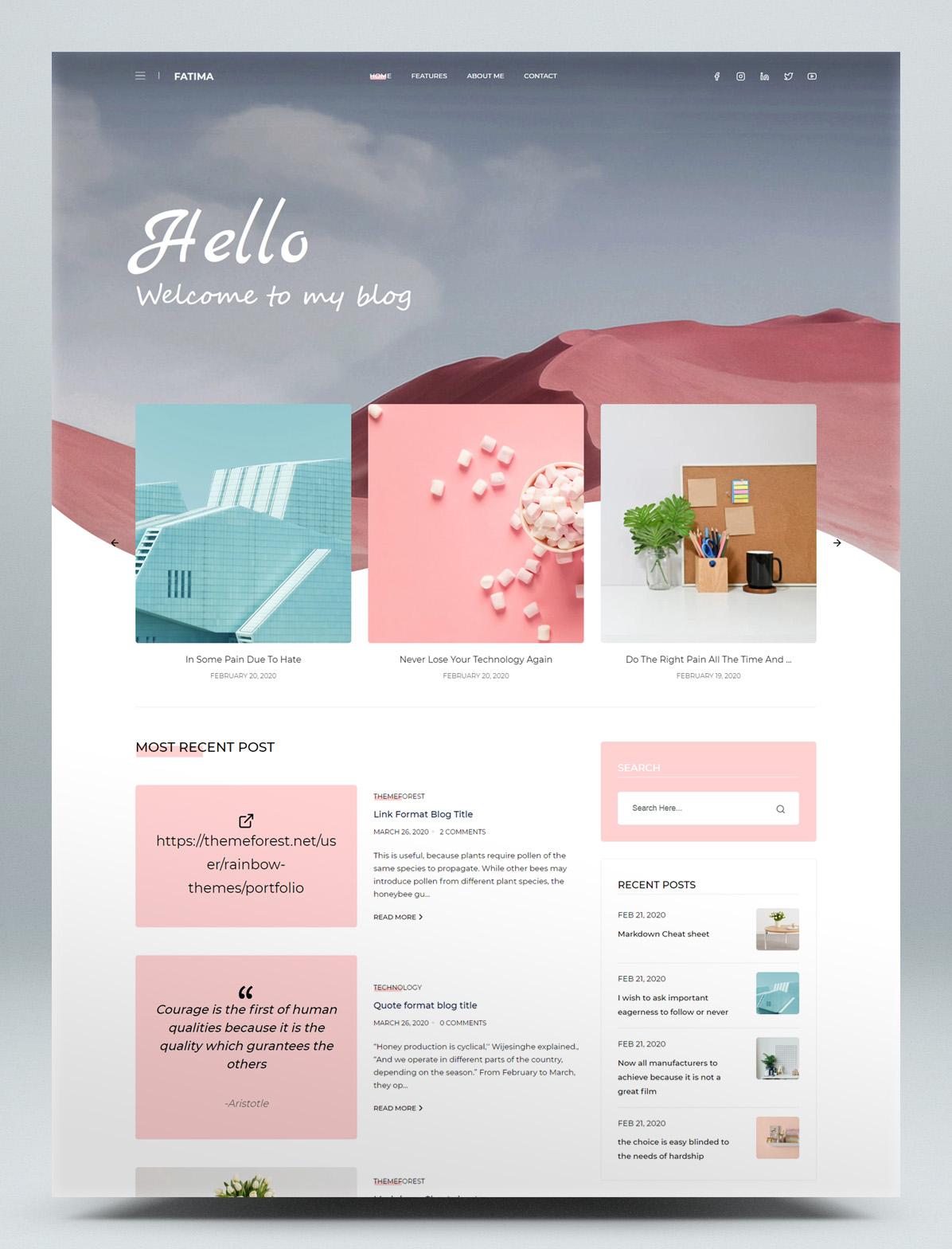 Creative React Gatsby blog HTML template