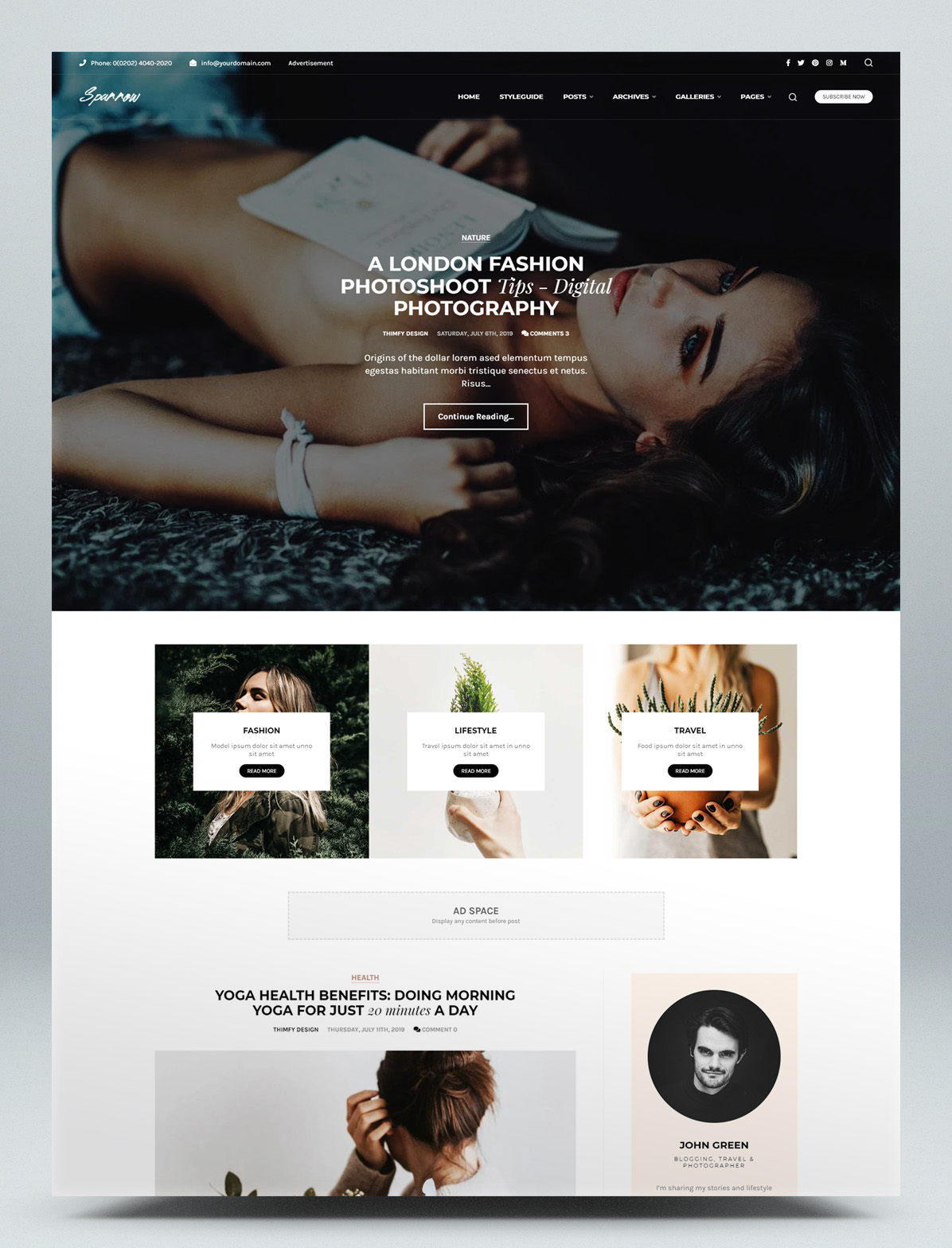 Fashion and women blog WordPress theme