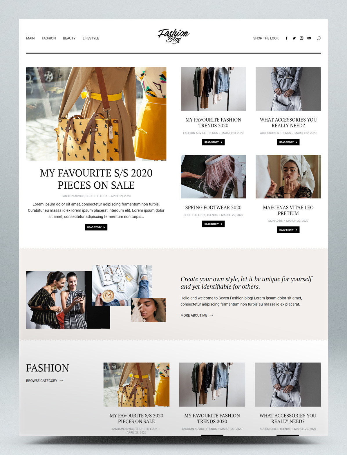 Fashion blog WordPress theme