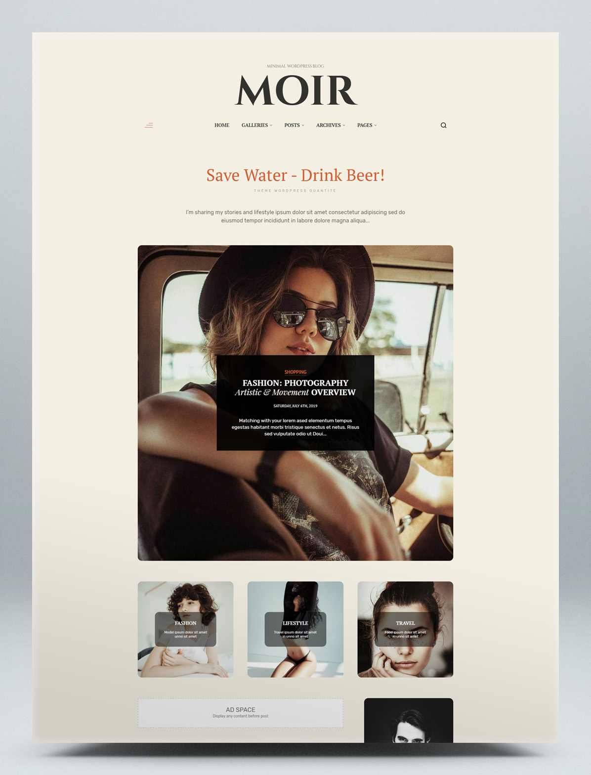 Fashion lifestyle blog WordPress theme