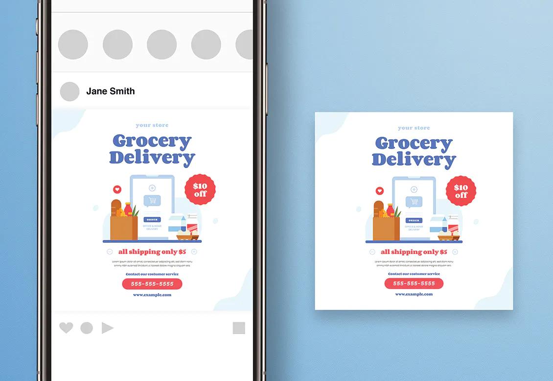 Grocery delivery Instagram post design