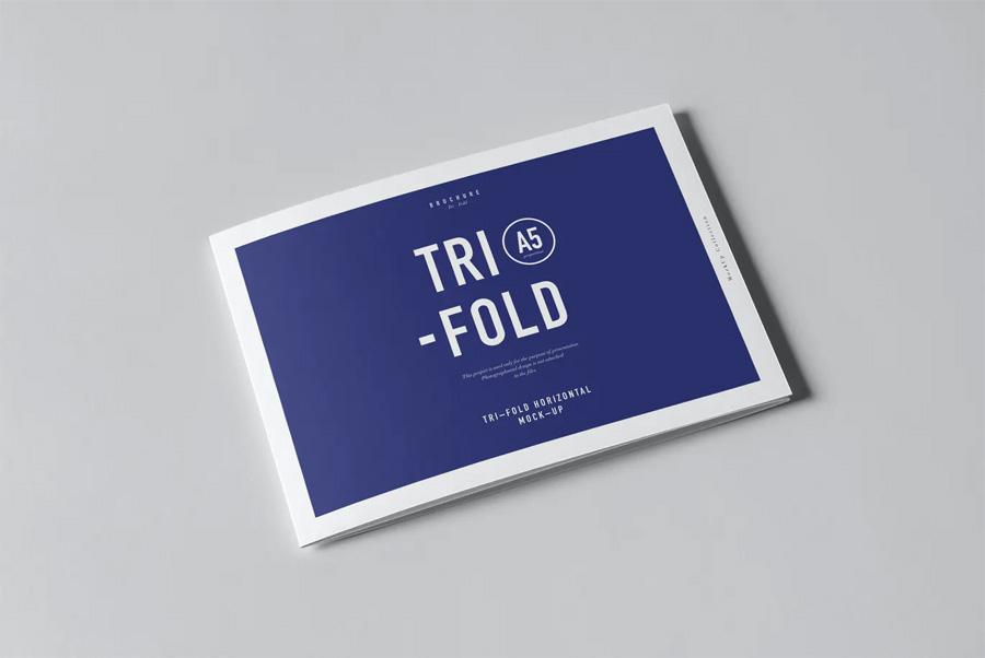 Horizontal tri-fold A5 brochure mockup