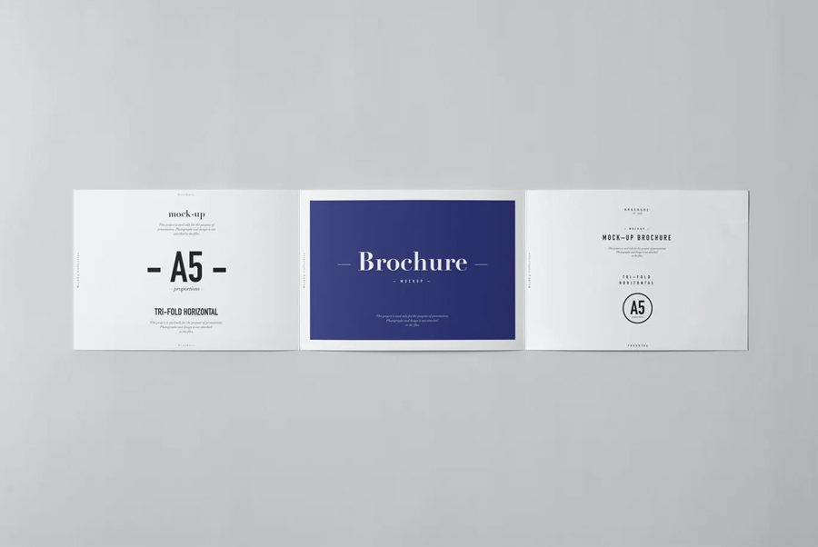 Horizontal tri-fold brochure mockup