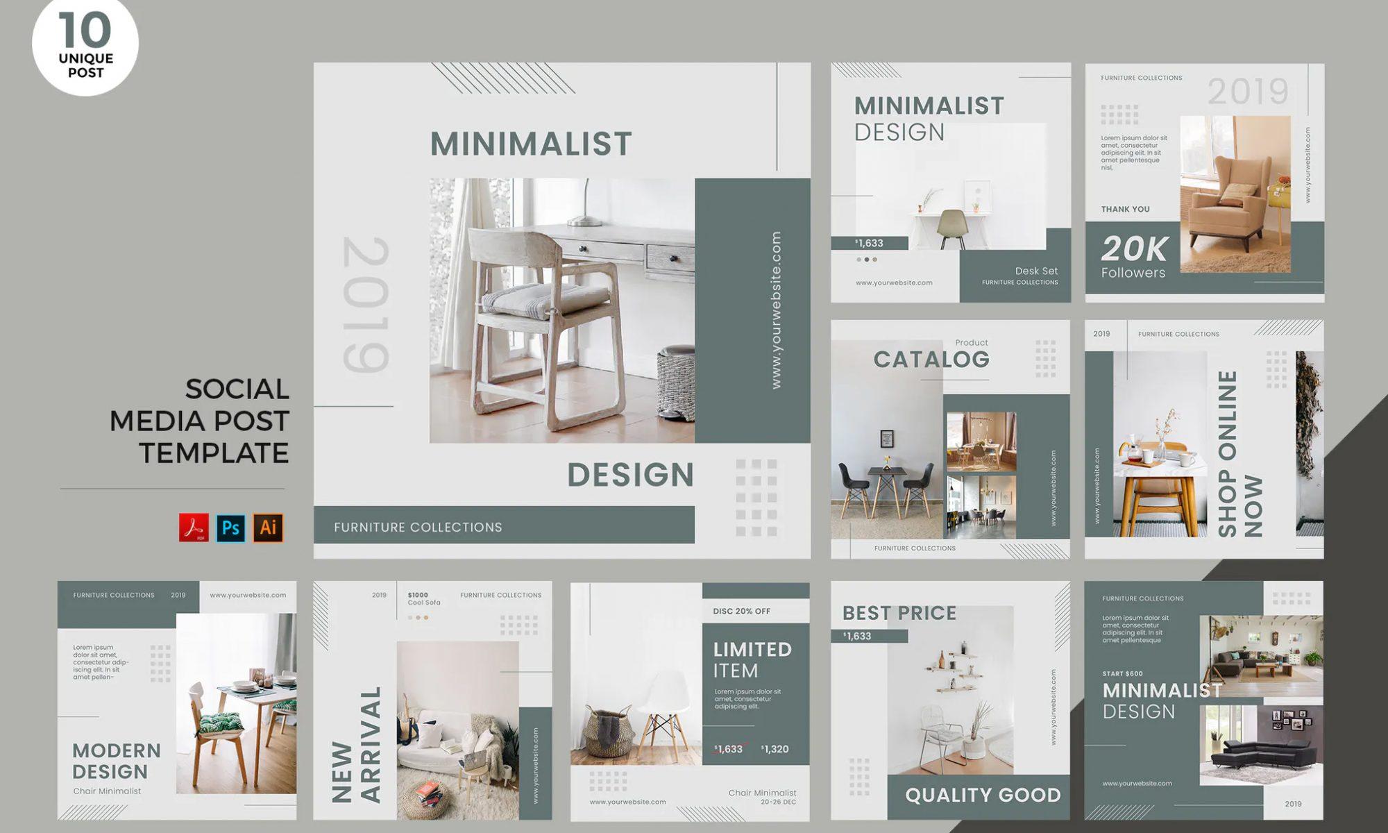 Interior design social media posts