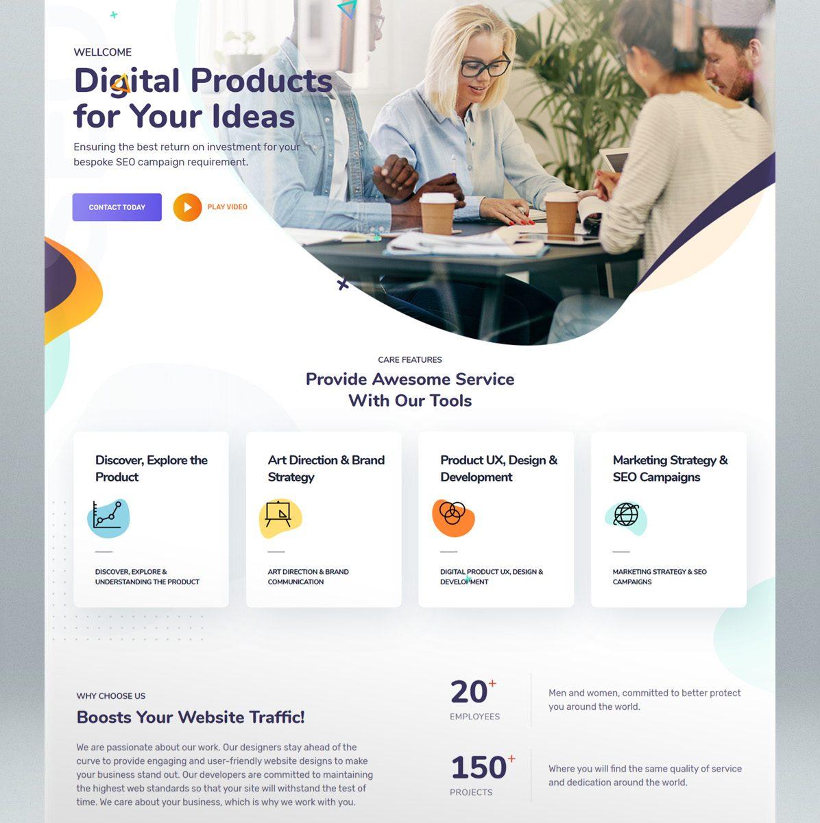 Marketing SEO digital agency WordPress theme