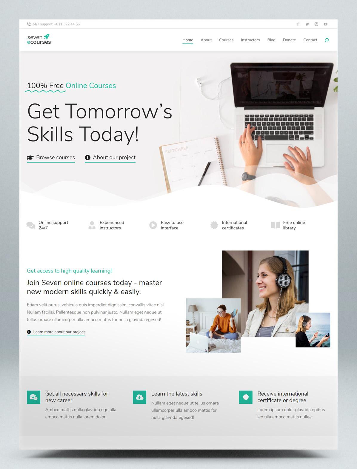 Online courses & education WordPress theme
