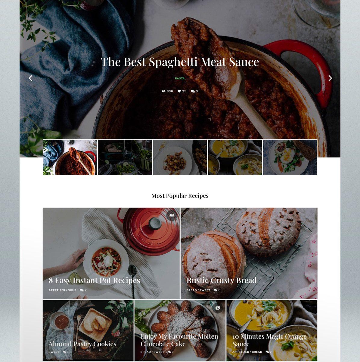 Personal Food Blog WordPress Theme