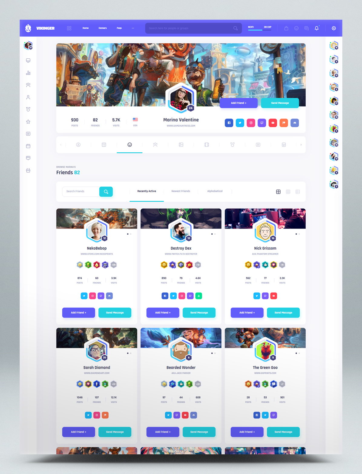 Social Community and Marketplace HTML Template - Profile Friends