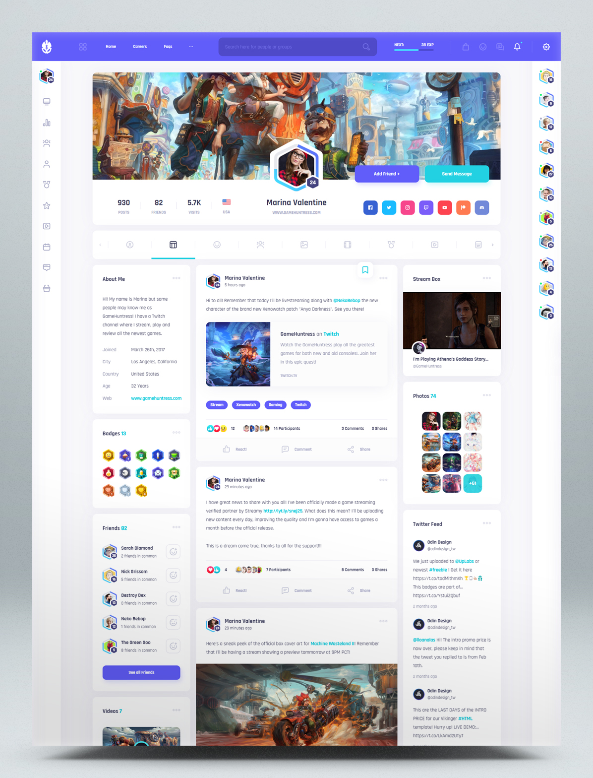 Social community and marketplace HTML template