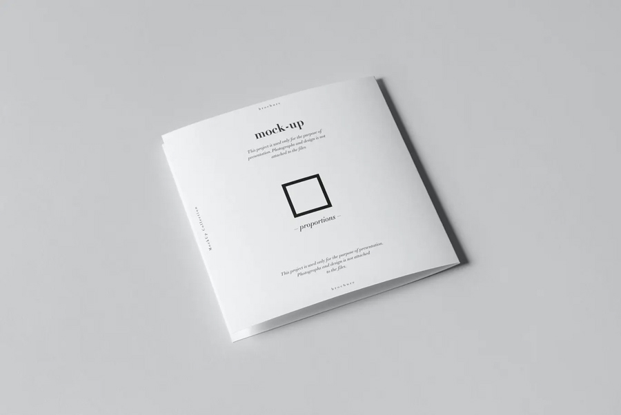 Square bi-fold brochure mockup PSD