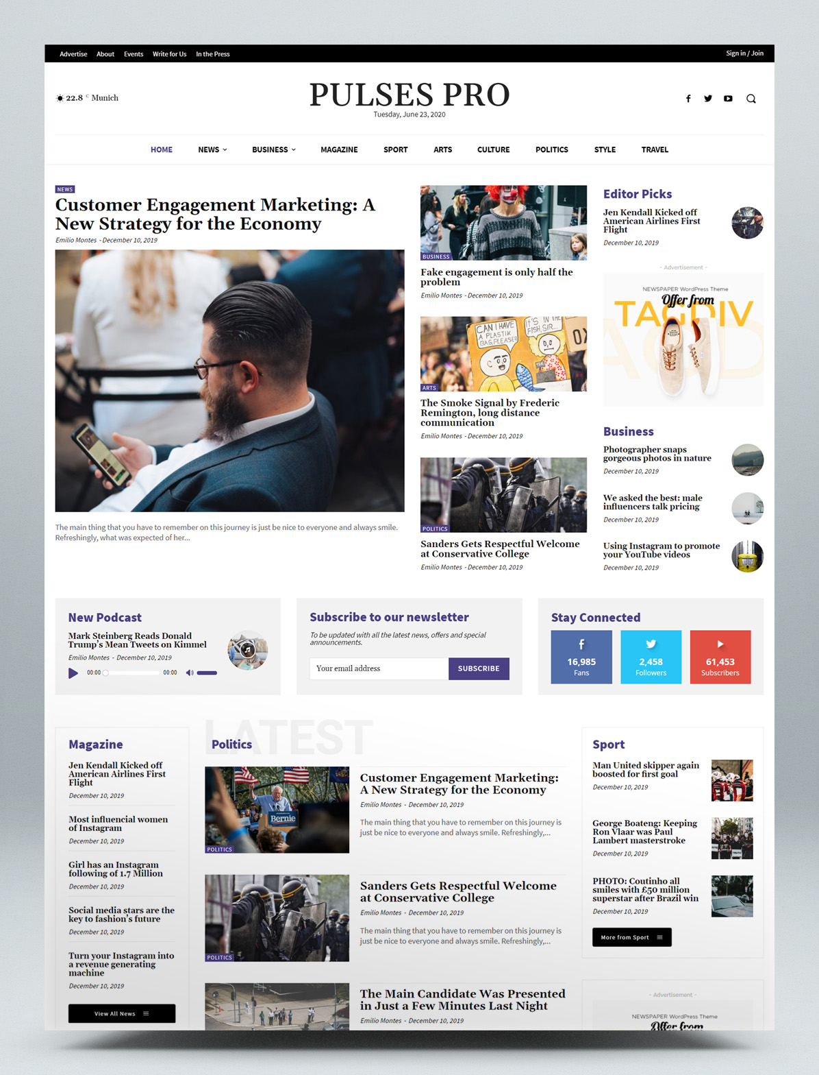 Newspaper and magazine WordPress theme