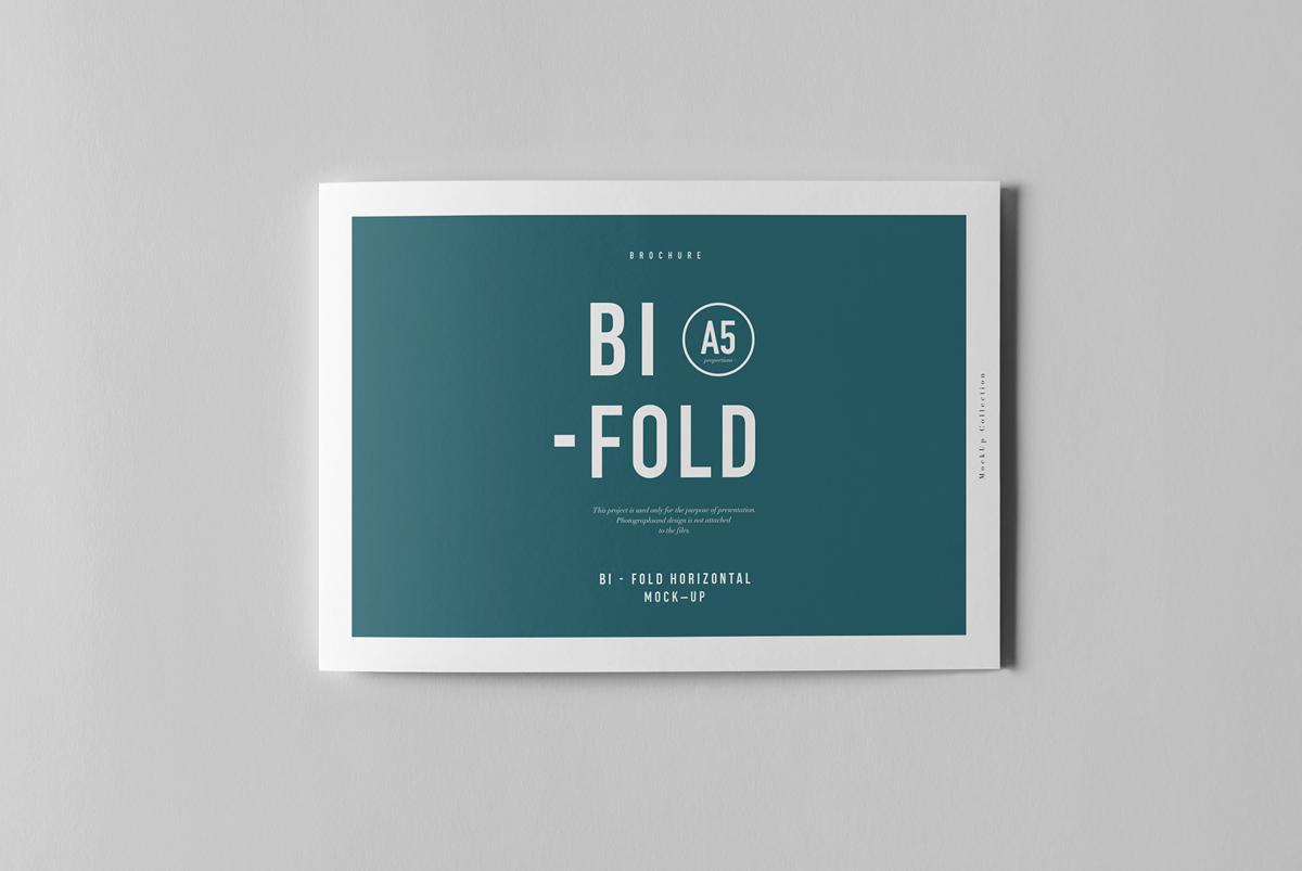 Bi-fold A5 horizontal brochure Mockup PSD