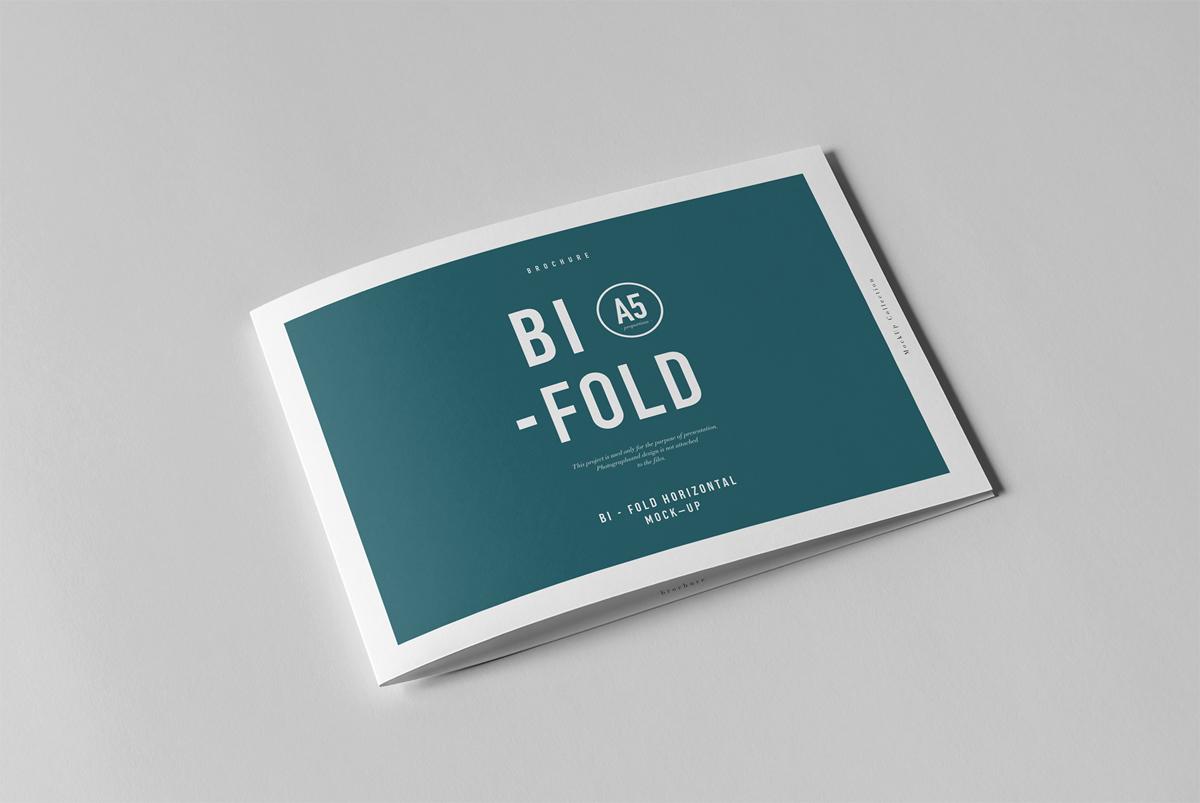 Bi-fold A5 horizontal brochure Mockup