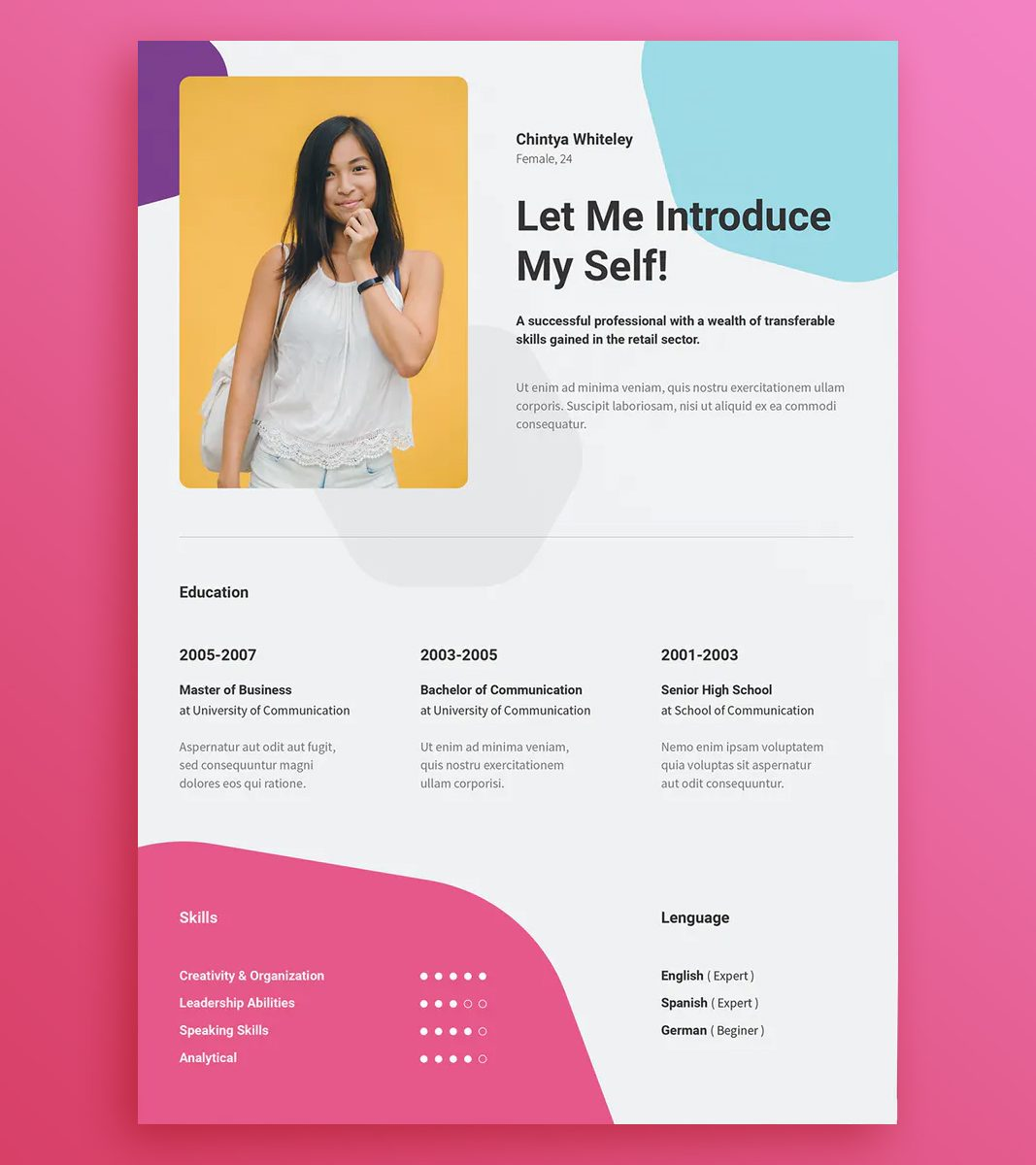 Creative Resume Template EPS